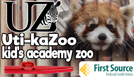 Uti-kaZoo logo includes red panda, red kazoo, and first source federal credit union logo